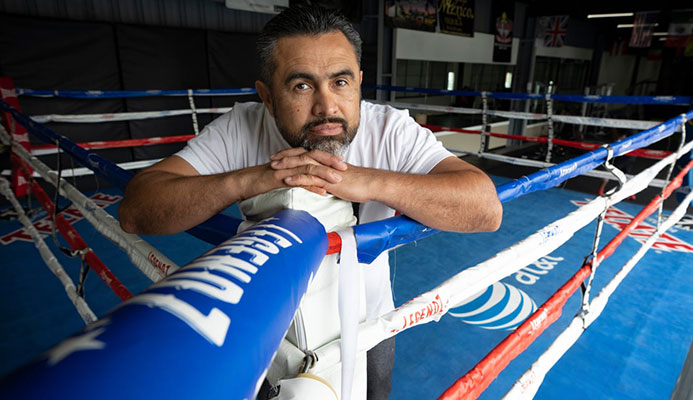 Manny Robles in his LA gym: 'The moment I became a US resident I went to school. I was 34. It was my dream to become a citizen and take care of my family.' Photograph: Dan Tuffs/The Guardian