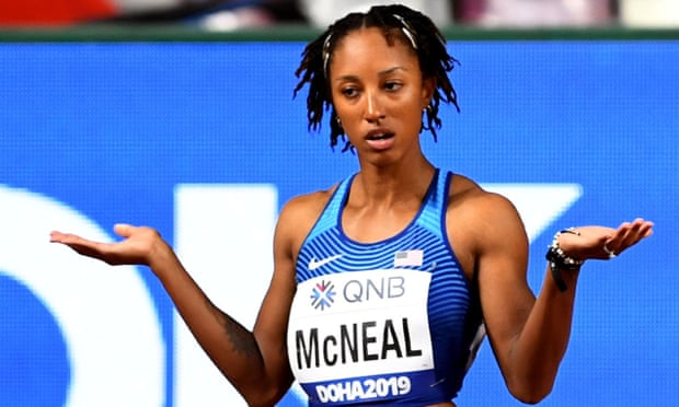 Brianna McNeal at the 2019 world championships in Doha. Photograph: Dylan Martinez/Reuters
